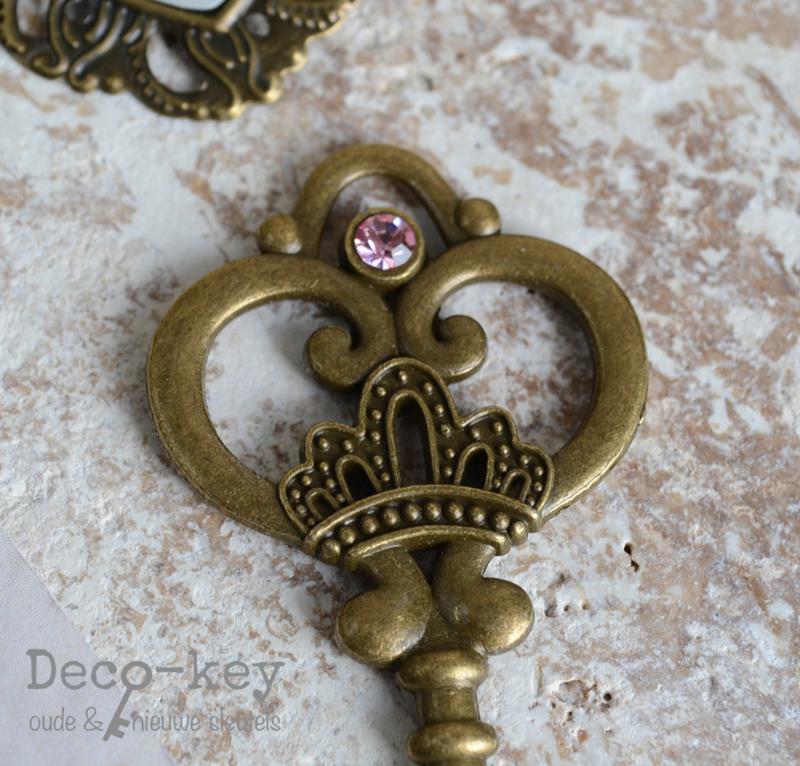 Sleutel vintage brons similisteen 12 kleuren