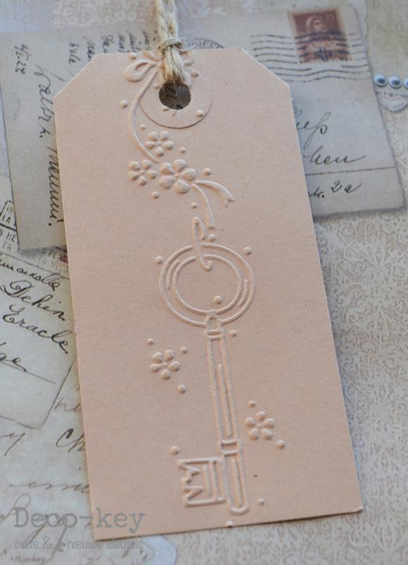 Kartonnen label sleutel afdruk