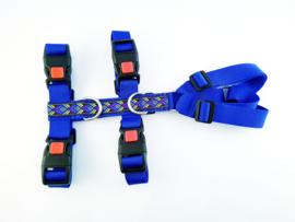 Anti-ontsnappingstuigje blauw met sierlint 'blauw/groen/paars'