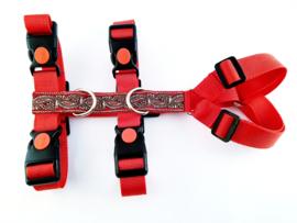 Anti-ontsnappingstuigje rood met sierlint 'paisley rood'