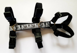 Anti-ontsnappingstuigje zwart  met sierlint 'zebra print'
