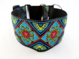 Martingale halsband 'bloem blauw/roze', 5cm breed