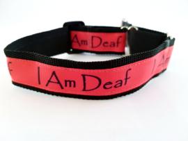 Martingale halsband 'I am deaf', 2.5cm breed