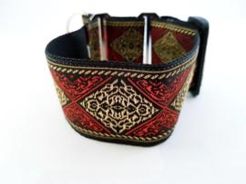 Martingale halsband 'ruit rood/goud', 5cm breed