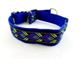Martingale halsband blauw met sierlint, 2.5cm breed