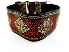Martingale halsband 'ruit rood/goud', 5cm breed