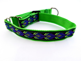 Martingale halsband grasgroen/blauw/paars, 2.5cm breed