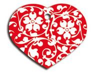 Hondenpenning hart bloem rood