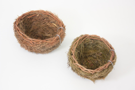Wildzang nest van boomnaalden ca. 14-15 cm (Waldvogelnest Nadelzweig mit Drahthaken ca. 14-15 cm)