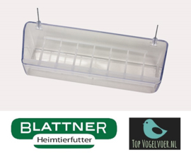 Plastic Feeding Bowl With Wire Hooks Transparent 20cm (Napf mit Drahthaken 20 cm transparent)