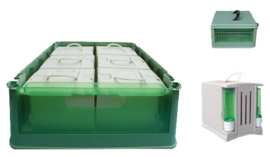 Transport Box included 6 Separate Plastic Cages (Transportbox mit 6 Einzelboxen Kunststoff)