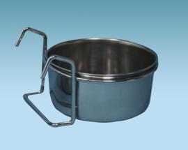 Stainless Steel Drink / Bowl With Hooks 14 cm (Edelstahlnapf 0,9 Ltr. 14cm ø zum Einhängen)