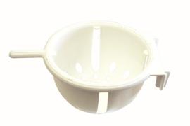 Plastic nest 13cm wit met zitstokje (Plastikhakennest weiß groß - 13 x 8 cm mit Anflugstange)