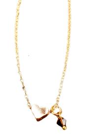 Ketting goud hartje - Swarovski kristalletje