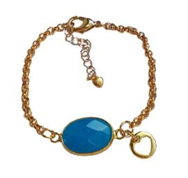 Luxe armband Gold met blauw edelsteen