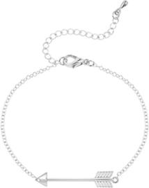 Zilverkleurige armband met pijl teken - dromen en doelen