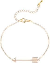 Goudkleurige armband met pijl symbool - dromen en doelen
