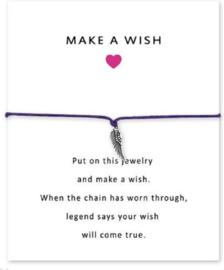 Wenskaart Wens - Kaart cadeau met armband engelvleugel