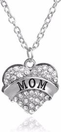 Ketting met zilver hart hanger Mom - strass hartje voor mama