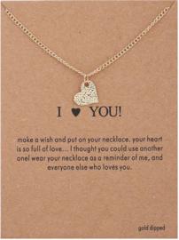 Wenskaart I love you - Kaart cadeau met ketting hart