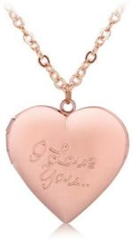 Ketting met hart medaillon Rose - medaillon hart die open kan voor foto of tekst