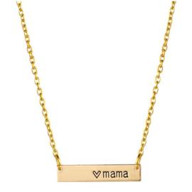 Mama ketting - vergulde ketting met tekst Mama en hartje