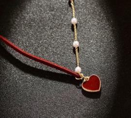 Ketting Choker Heart Pearl