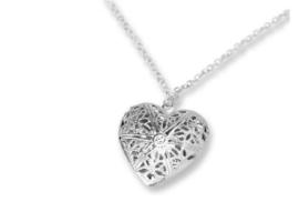 Ketting met bewerkt hart medaillon - hart medaillon hanger - sieraad cadeau
