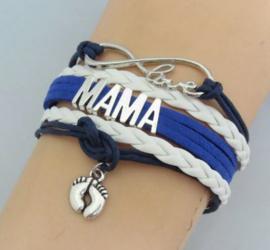 Stoere mama armband Mama - blauw