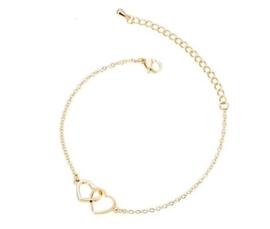 Armband dubbel hart - goudkleurig
