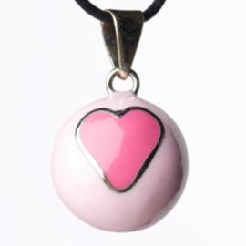 Zwangerschapsketting bola hart roze