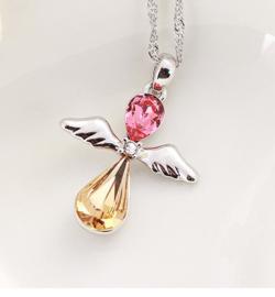 Zilveren ketting met Swarovski bescherm engel - Swarovski elements