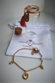 Armband hartjes in geschenkflesje - cadeau
