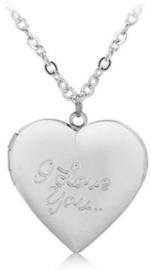 Zilver hart medaillon ketting