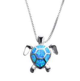 Zilveren ketting met schildpad hanger Blue