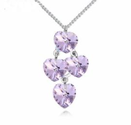 Ketting met hartjes hanger Violet - Swarovski kristal hartjes hanger