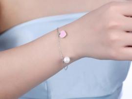 Zilveren Mama armband Hartje roze - 925 zilver