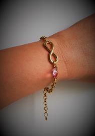 Luxe armband Infinity Gold - Swarovski hartje - sieraad geschenk