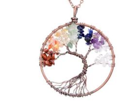 Levensboom ketting edelstenen - tree of life hanger - levensboom hanger