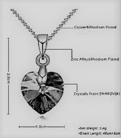 Ketting met Swarovski hartje - Swarovski elements