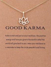 Wenskaart Good Karma - Kaart  cadeau met ketting Karma