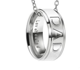 Ketting met DAD ring hanger - Papa ketting