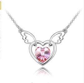 Ketting Angel wing Pink - ketting met roze Swarovski elements hartje