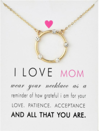 Wenskaart Mama - Kaart  cadeau met ketting voor moeder