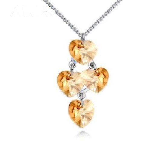Ketting met Swarovski kristal hartjes hanger Gold - Ketting met hartjes