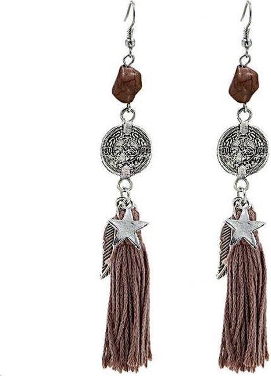 Ibiza oorbellen bruin - hippe lange oorbellen