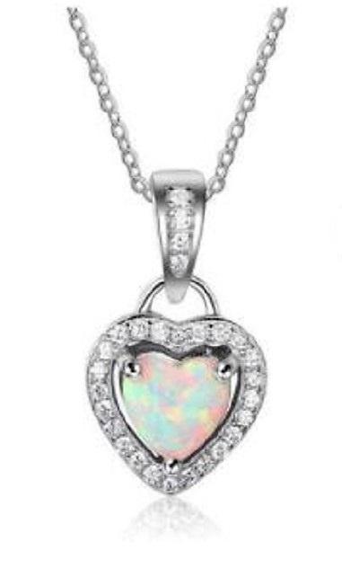 Sterling zilveren ketting met Opaal hart
