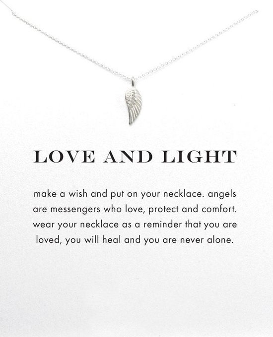 Wenskaart Love and Light - Kaart met ketting engelvleugel