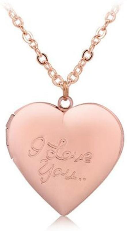 Ketting met hart medaillon Rose - I Love you