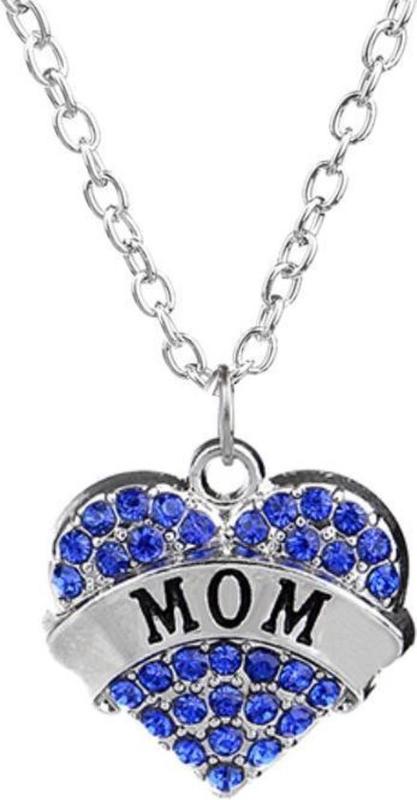 Ketting met strass hart Mom - blauw hartje voor mama